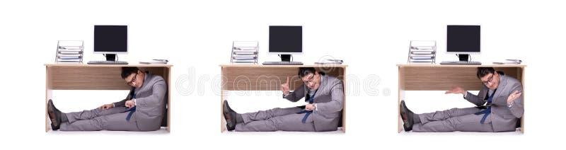 Der Geschäftsmann, der im ofice sich versteckt stockfotografie
