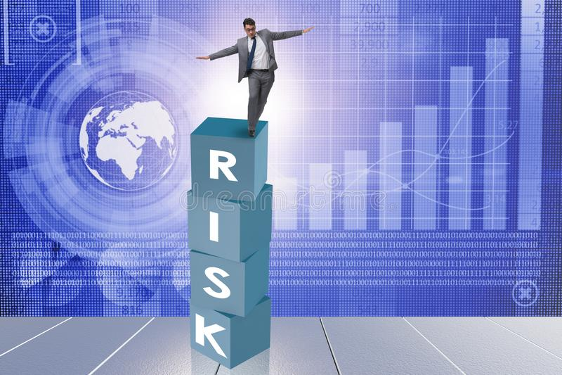 Der Geschäftsmann im Risiko- und Belohnungsgeschäftskonzept vektor abbildung