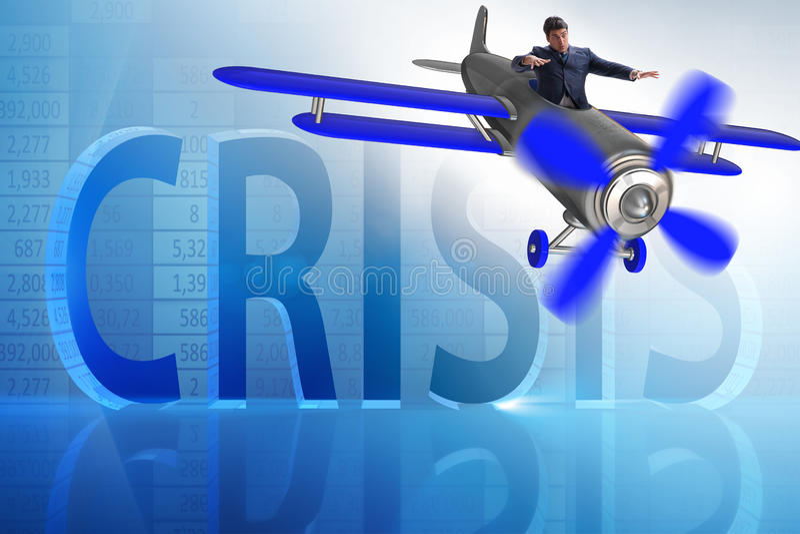 Der Geschäftsmann im Wirtschaftskrisekonzept lizenzfreie abbildung