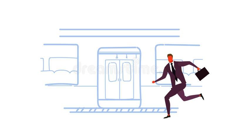 Der Geschäftsmann, der läuft, um Skizze der öffentlichen Transportmittel der Zug-U-Bahnstadt zu fangen tramuntertage, kritzeln mä lizenzfreie abbildung