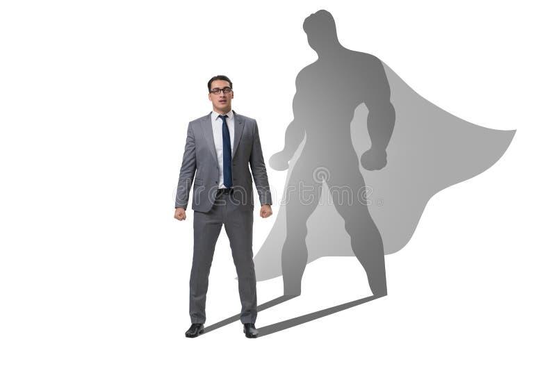 Der Geschäftsmann mit Aspiration des werdenen Superhelden lizenzfreies stockfoto