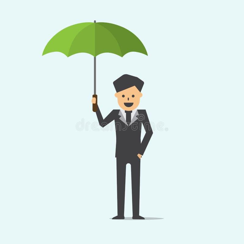 Der Geschäftsmann, der Regenschirmgeschäft hält, schützen Konzeptkarikaturvektor stock abbildung