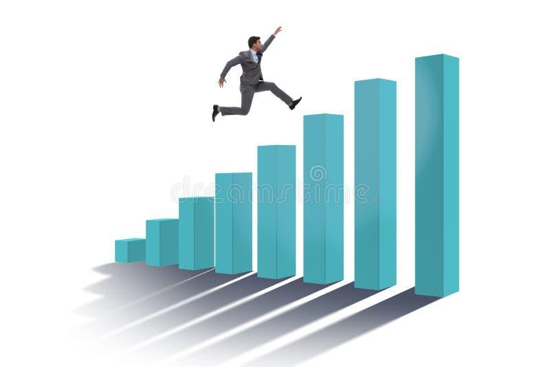 Der Geschäftsmann, der in Richtung zum wirtschaftlichen Erfolg läuft stock abbildung