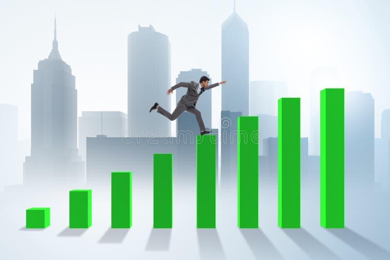 Der Geschäftsmann, der in Richtung zum wirtschaftlichen Erfolg läuft lizenzfreie abbildung