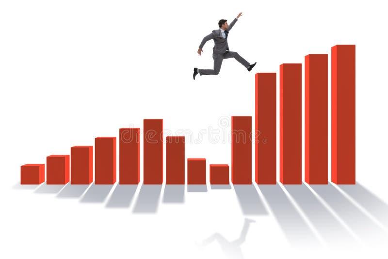 Der Geschäftsmann, der in Richtung zum wirtschaftlichen Erfolg läuft vektor abbildung