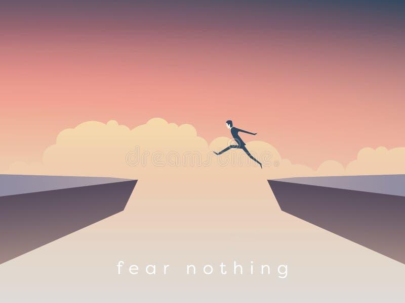 Der Geschäftsmann springend über Abgrundvektorkonzept Symbol von Geschäftserfolg, Herausforderung, Risiko, Mut stock abbildung