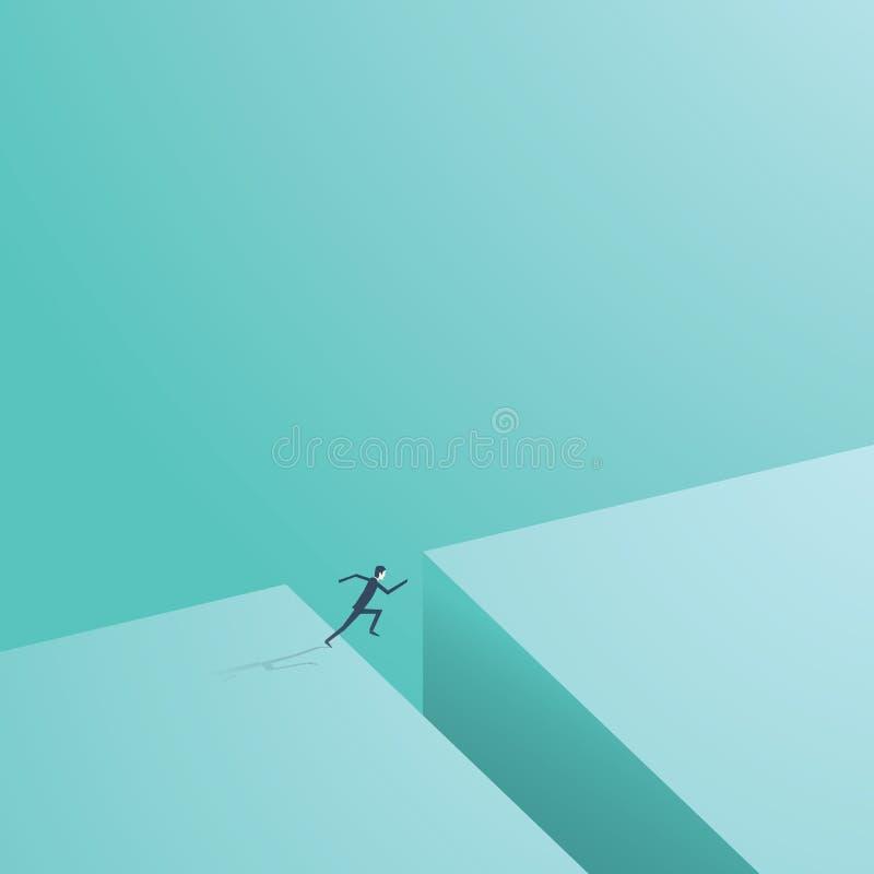 Der Geschäftsmann springend über Abstand Geschäftsvektorsymbol des Geschäftsrisikos, Abenteuer, Gelegenheit, Herausforderung stock abbildung