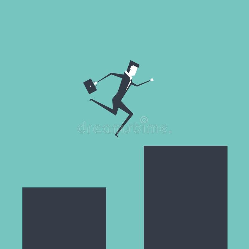 Der Geschäftsmann springend über Abstandsgeschäftsrisiko und -herausforderung lizenzfreie abbildung
