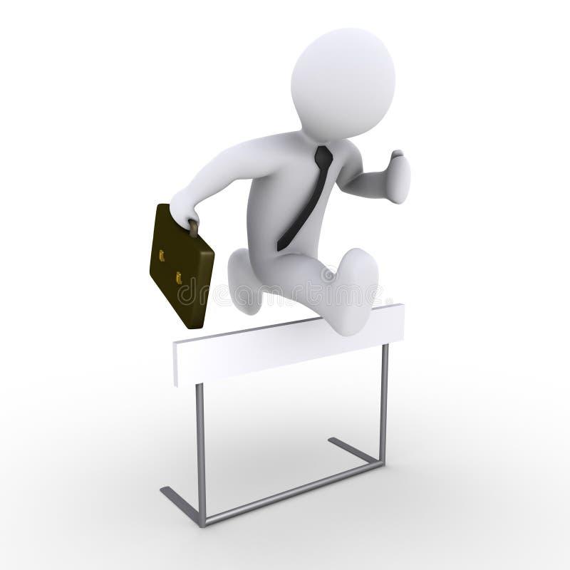 Der Geschäftsmann springend über Hindernis stock abbildung