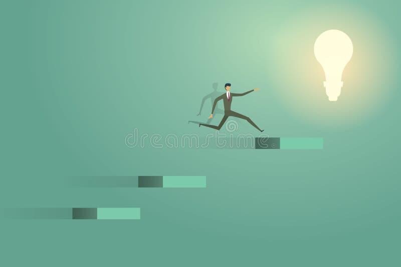 Der Geschäftsmann springend, auf Konzeptlösungs-Ehrgeiz succes der Glühlampe zu gehen kreative stock abbildung