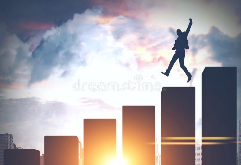 Der Geschäftsmann springend in eine Großstadt, Balkendiagramm lizenzfreie abbildung