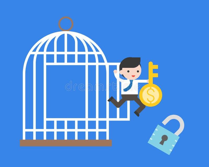Der Geschäftsmann springend vom Käfig mit Geldschlüssel und Verschluss, Freiheit f vektor abbildung