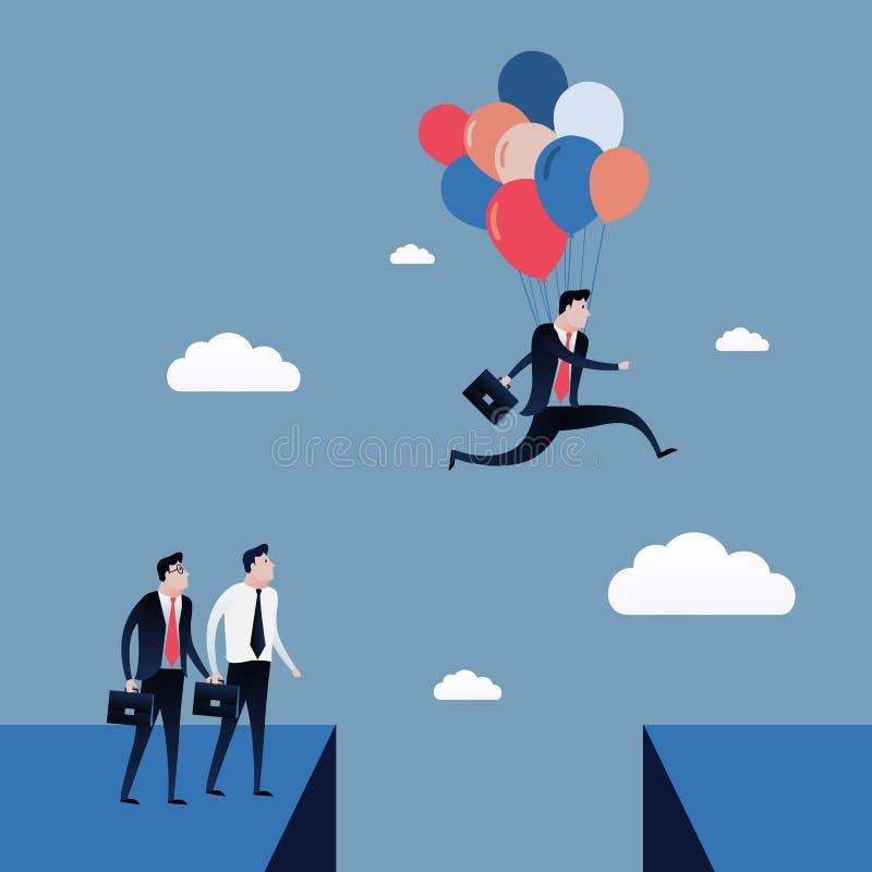 Der Geschäftsmann springend zum blauen Himmel mit Ballonen Geschäftskonzept-Illustrationsvektor vektor abbildung