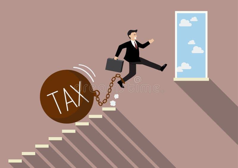 Der Geschäftsmann springend zum Erfolg mit schwerer Steuer lizenzfreie abbildung