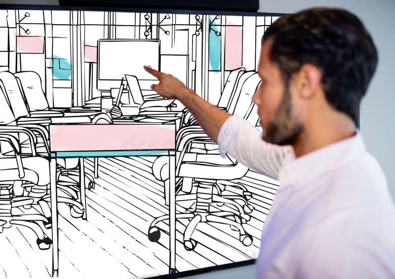 der Geschäftsmann (verwischt) die Großleinwand mit neuem Büro zeigend zeichnet (Schwarzweiss mit Rosa und b lizenzfreie abbildung