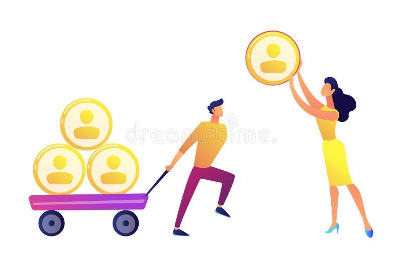 Der Geschäftsmann, der Warenkorb mit Leuten zieht, profiliert die Pyramide und Frau, die eine Vektorillustration geben lizenzfreie abbildung
