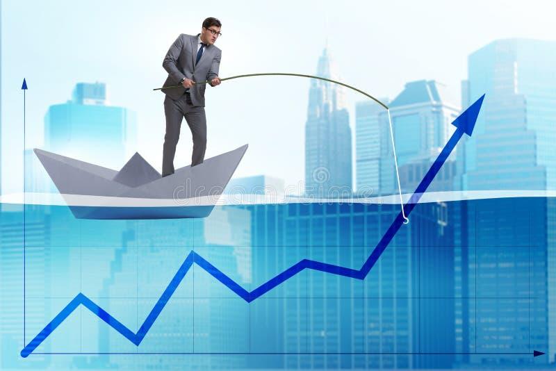Der Geschäftsmann, der Wirtschaftswachstum mit Angelrute stützt stock abbildung