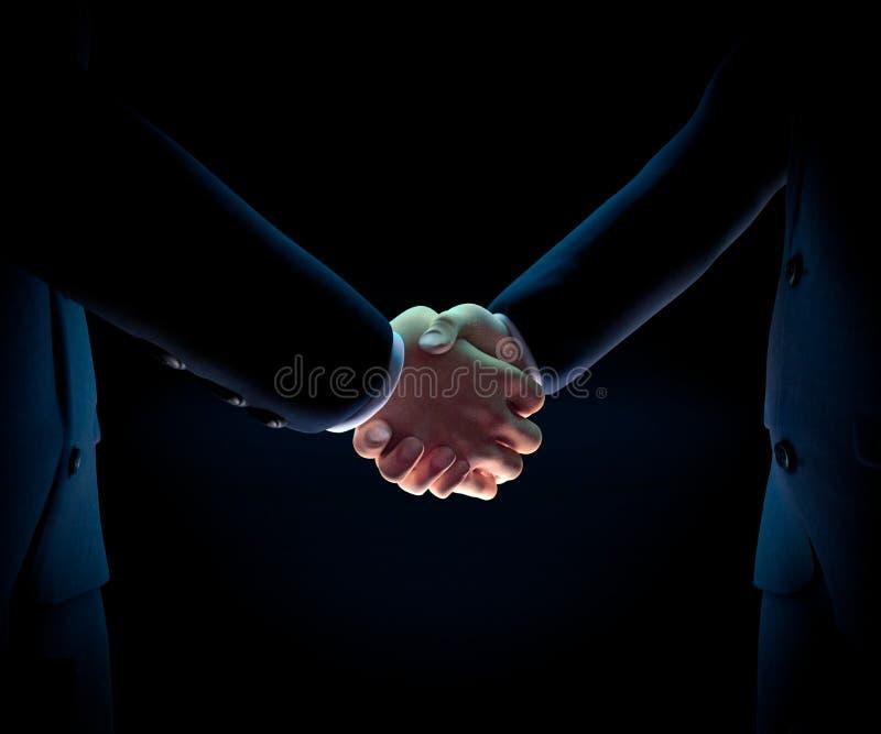 Der Geschäftsmann zwei, der Hände 3d rüttelt, übertragen lizenzfreie abbildung