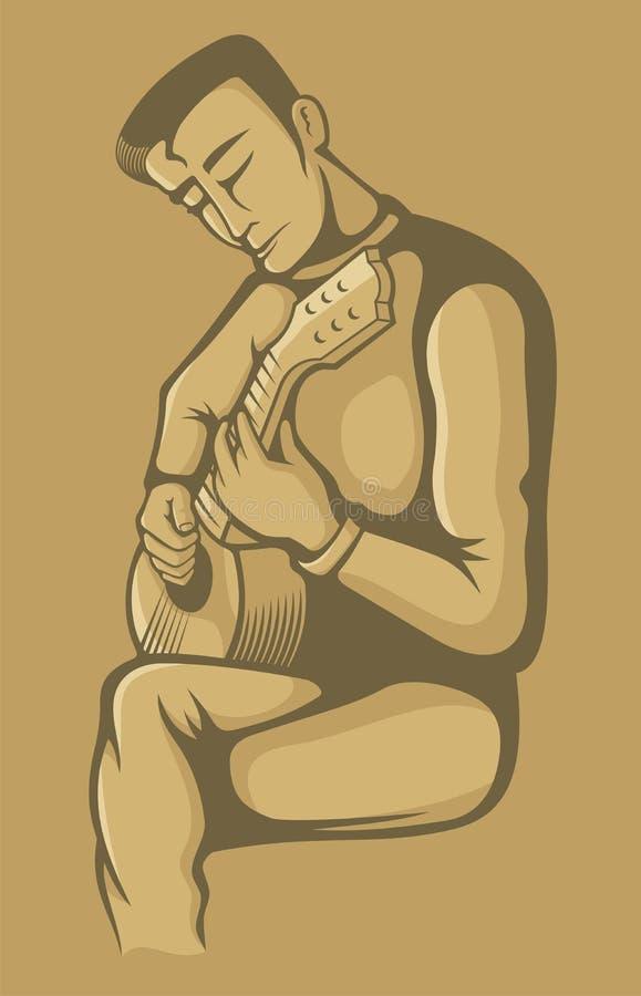 Der Gitarrist auf Beige lizenzfreie abbildung