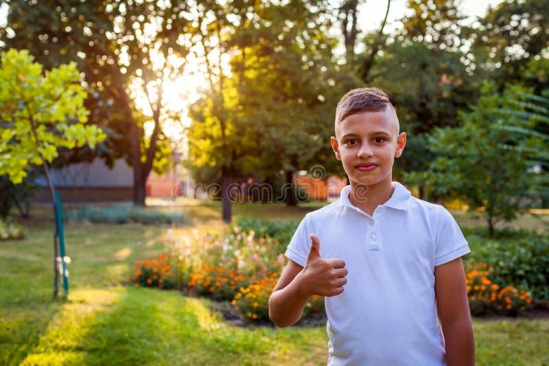 Der glückliche Jugendlichjunge, der den hohen Daumen zeigt, unterzeichnen herein Sommerpark Okaygeste Lächelnder Schüler draußen lizenzfreie stockfotos