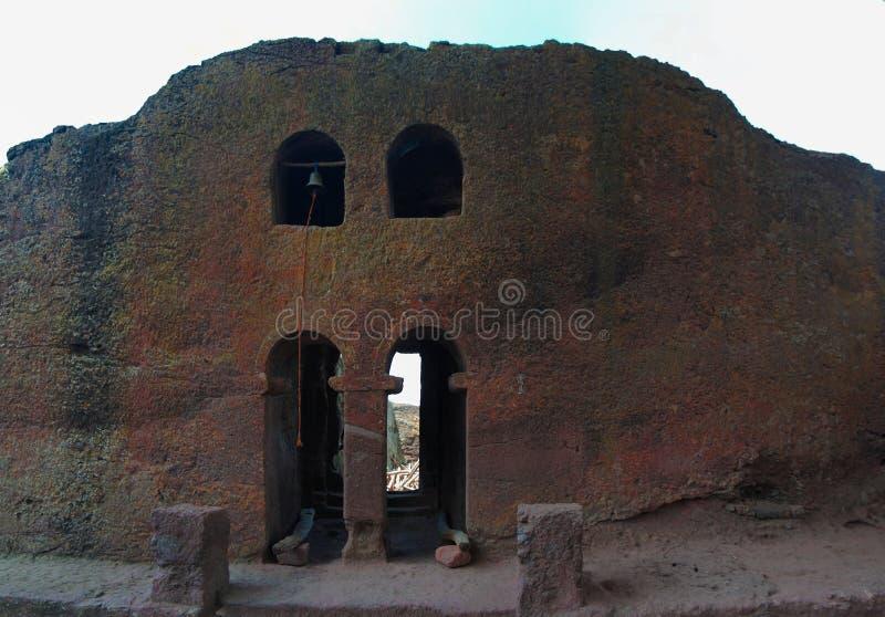 Der Glockenturm stein-gehauener Kirche Biete Mariam, Lalibela, Äthiopien stockfotos