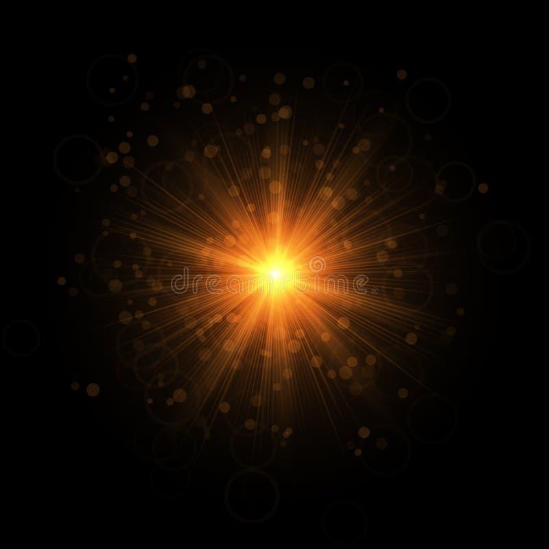 Der goldene funkelnde Stern stock abbildung