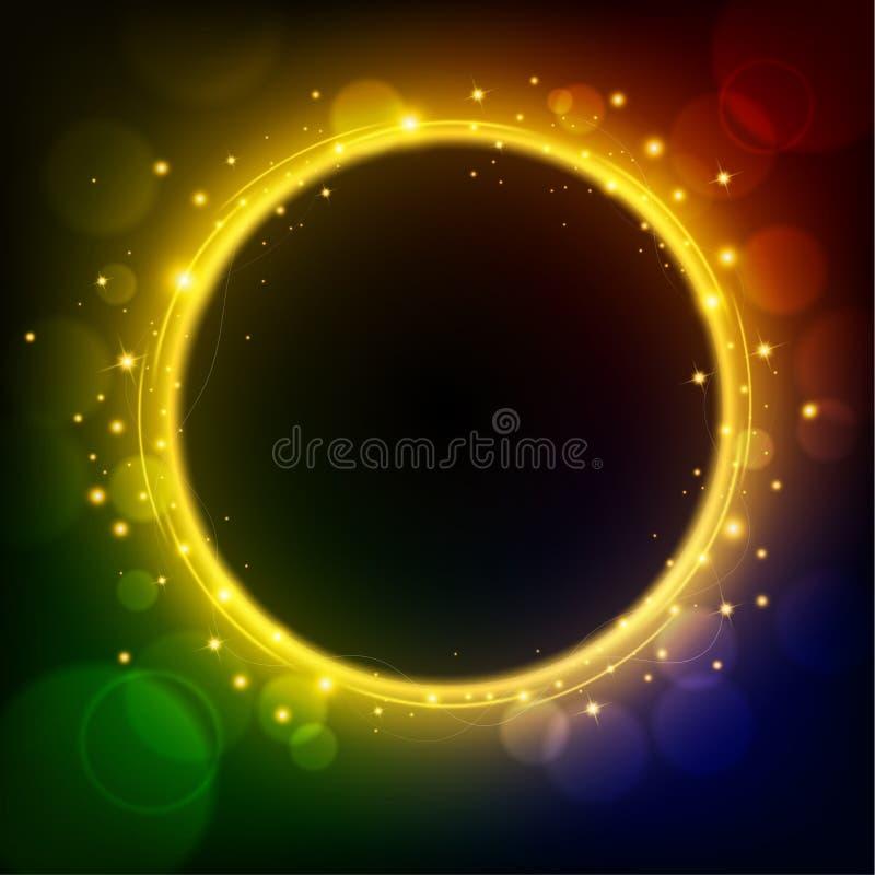 Der goldene helle Kreis, der auf Regenbogen glüht, färbte Hintergrund lizenzfreie abbildung
