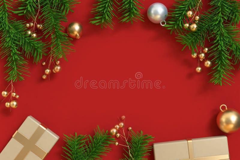 Der Goldkugelgeschenkbox des Weihnachtsbaums freier Raum der metallischen roten Bodenmitte lizenzfreie abbildung