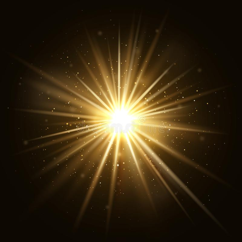 Der Goldstern sprengte goldene helle Explosion lokalisiert auf dunkler Hintergrundvektorillustration stock abbildung