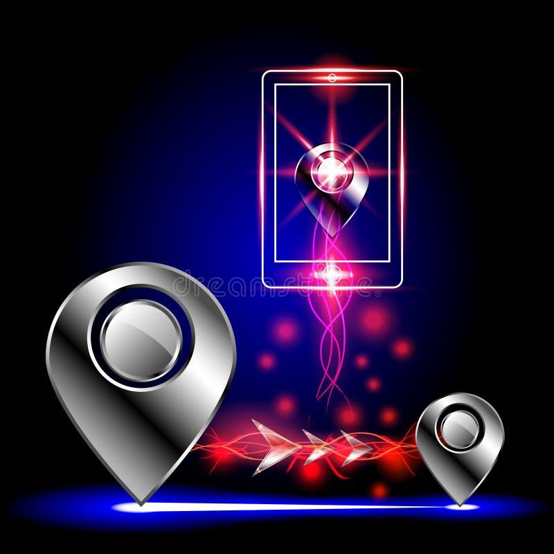 Der GPS-Symbolzusammenfassungshintergrund, Vektorillustration lizenzfreie abbildung