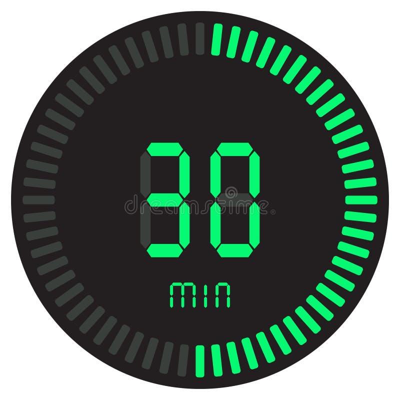 Der grüne digitale Timer 30 Minuten elektronische Stoppuhr mit einer Steigungsskala, die Vektorikone, Uhr und Armbanduhr, Timer a lizenzfreie abbildung