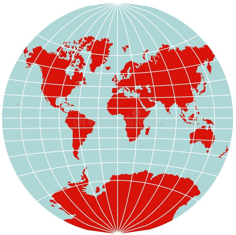 der grinten mapy projekcję Samochód dostawczy Świat ilustracja wektor