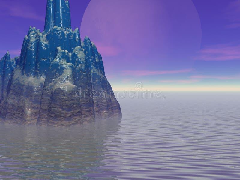 Der große Mond und die Insel stock abbildung