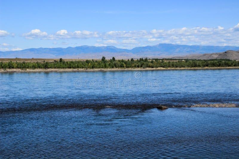 Der große russische Fluss Yenisei, der aus der sibirischen Region in der Mitte von Asien - Tyva stammt stockbilder