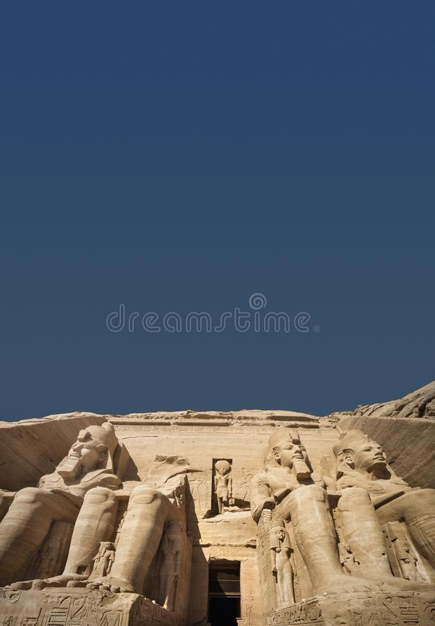Der große Tempel von Abu Simbel, Ägypten lizenzfreies stockbild