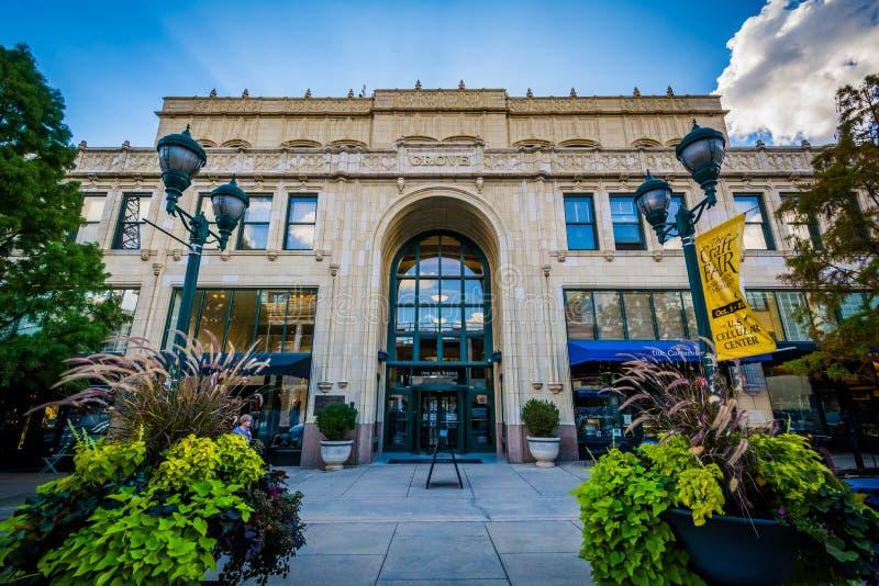 Der Grove-Säulengang, in im Stadtzentrum gelegenem Asheville, North Carolina lizenzfreie stockbilder