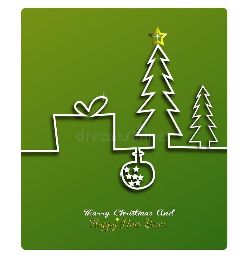 Der Grußkarte der frohen Weihnachten und des guten Rutsch ins Neue Jahr festliche Aufschrift mit dekorativen Elementen auf bokeh  stock abbildung