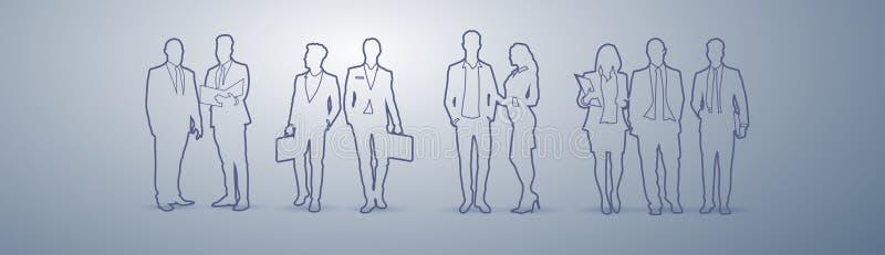 Der Gruppen-Schattenbild-Geschäftsleute Führungskräfte-Team Businesspeople Teamwork Concept lizenzfreie abbildung