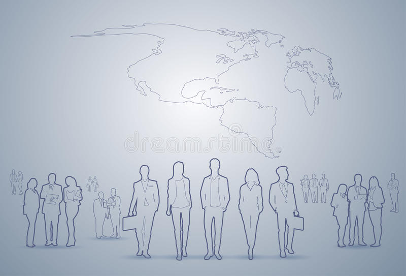 Der Gruppen-Schattenbild-Geschäftsleute Führungskräfte-Team Businesspeople Teamwork Concept vektor abbildung