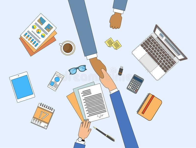 Der Händedruck-Sitzungs-unterzeichnenden Geschäftsleute Vereinbarungs-, Geschäftsmann-Handerschütterung, die an der Tischplattenw stock abbildung