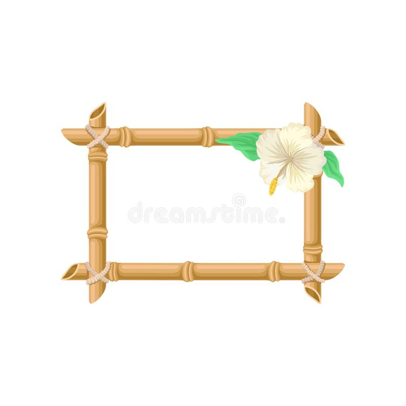 Der hölzerne rechteckige Rahmen, der von den Bambusstöcken gemacht werden und die weiße Blume vector Illustration auf einem weiße lizenzfreie abbildung
