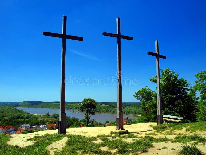 Der Hügel drei Kreuze in Kazimierz Dolny lizenzfreie stockfotografie