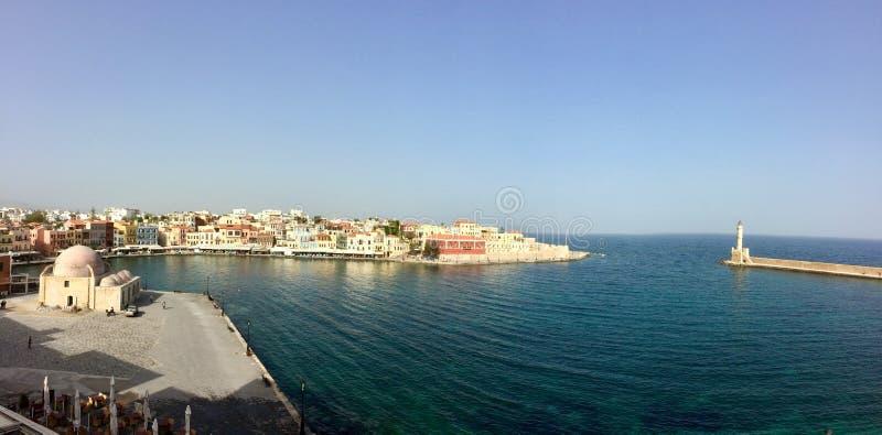 Der Hafen des Stadt chania stockfotos