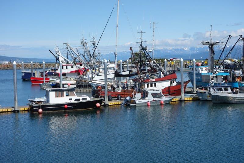 Der Hafen von Homer mit Bergen im Hintergrund stockfotos