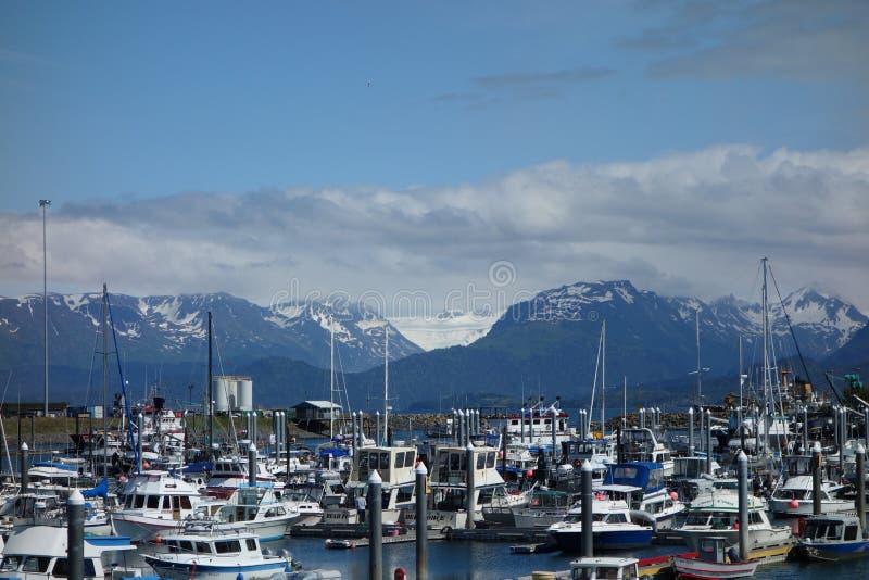 Der Hafen von Homer mit Bergen im Hintergrund stockbild