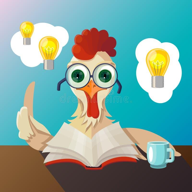 Der Hahn mit Gläsern ein Buch lesend, hatte er die Idee und trank Tee lizenzfreie stockfotografie
