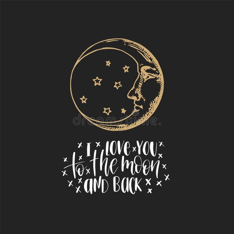 Der Halbmond, Hand gezeichnet, wenn Art mit der Hand graviert wird, die ich liebe dich zum Mond und zur Rückseite beschriftet Ins stock abbildung