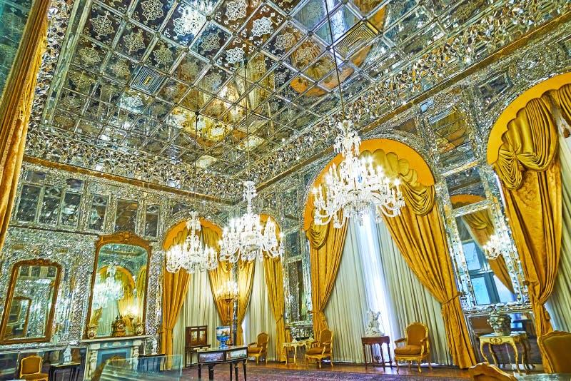 Der Hall des Spiegels in Golestan, Teheran stockfotografie