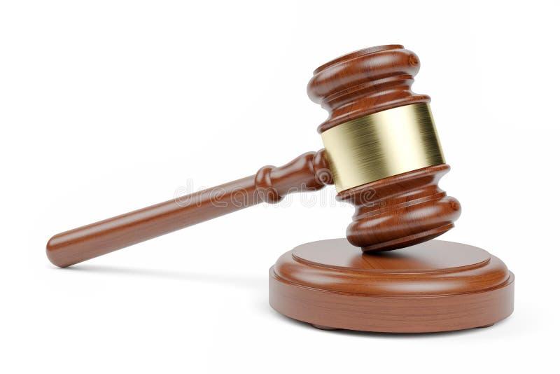 Der Hammer des Richters lokalisiert auf weißem Hintergrund 3d lizenzfreie abbildung