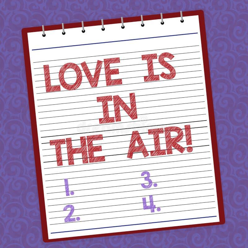 Der Handschriftstext, der Liebe schreibt, ist in der Luft Konzept, das neue Paar-Verhältnisse der Roanalysistic-Gefühlsituationen lizenzfreie abbildung